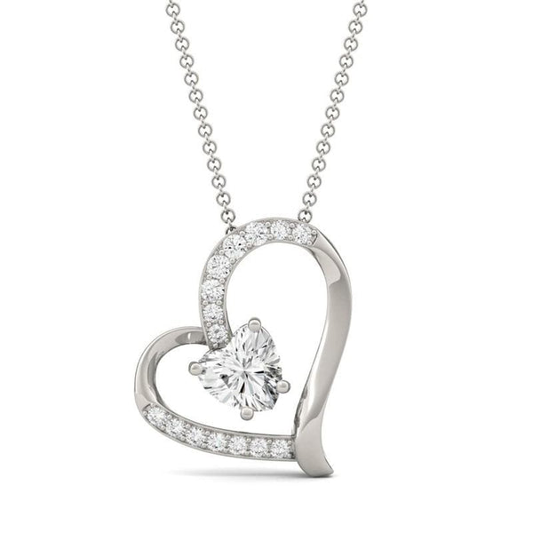 Moissanite Fashion Heart Pendant in 14k White Gold