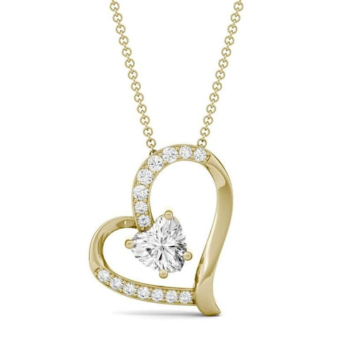 Moissanite Fashion Heart Pendant in 14k Yellow Gold