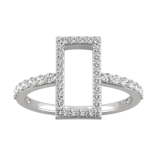 0.45ct Moissanite Geometric Statement Ring in 14k White Gold