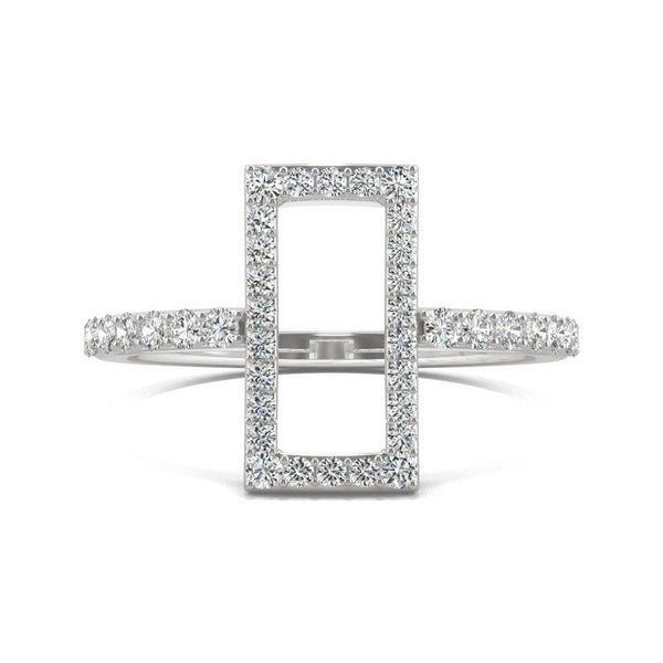 Open rectangle Moissanite Ring in 14k White Gold