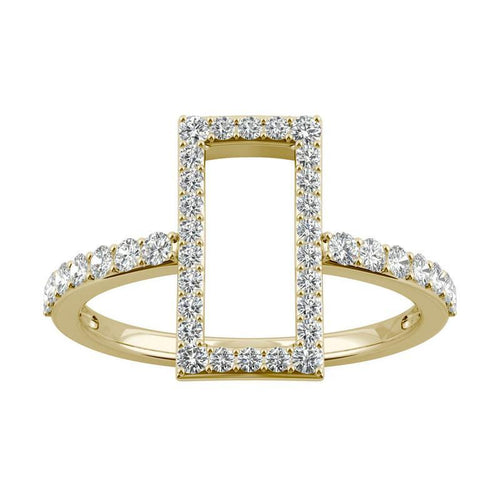 0.45ct Moissanite Geometric Statement Ring in 14k Yellow Gold
