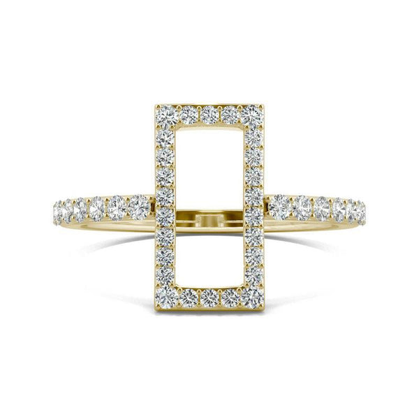Open rectangle Moissanite Ring in 14k Yellow Gold