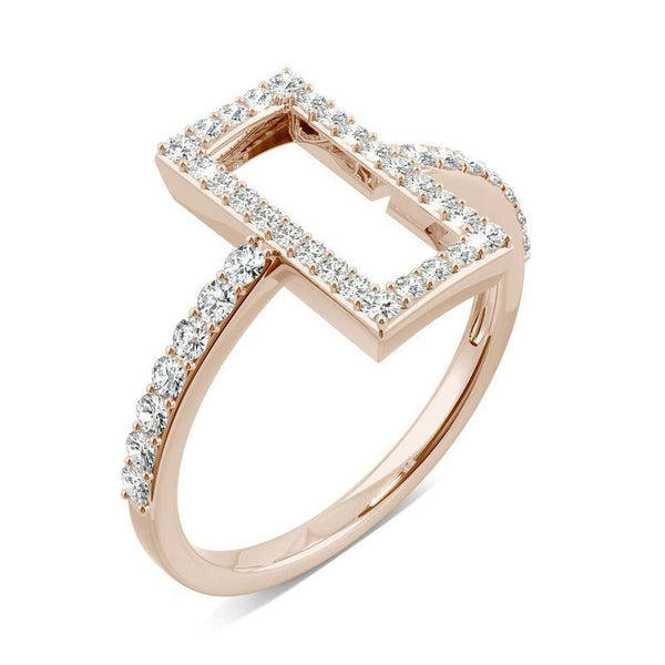 0.45ct Moissanite Geometric Statement Ring in 14k Rose Gold