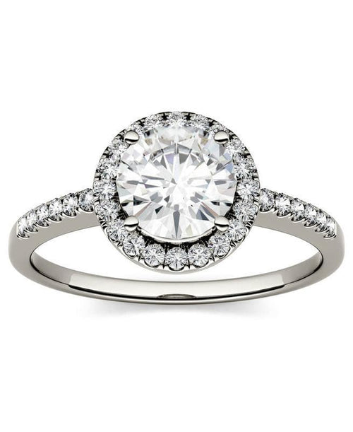 Moissanite Round Halo Ring  in 14K White Gold