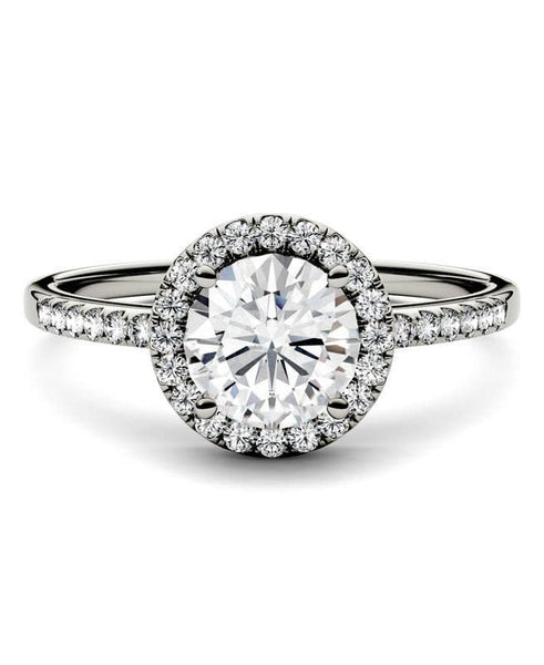 Moissanite Round Halo Engagement Ring in 14K White Gold