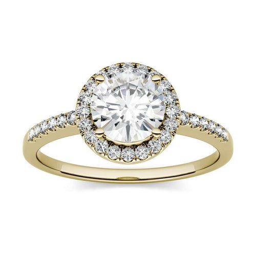 1.30ct Moissanite Round Halo Engagement Ring in 14K Yellow Gold