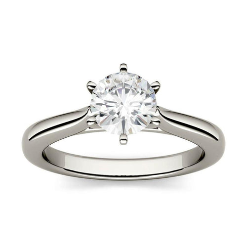 1ct Moissanite Cathedral Solitaire Ring in 14K White Gold