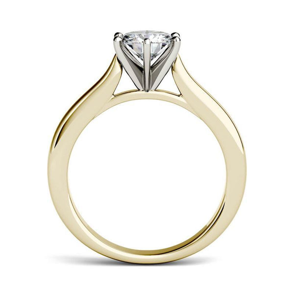 Moissanite Cathedral Solitaire Ring in 14K Two-Toned Gold
