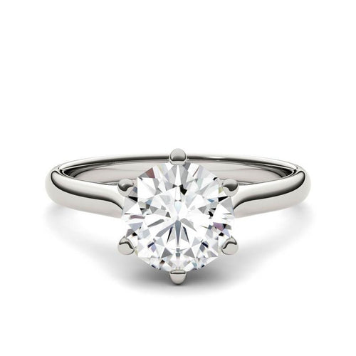 1.5ct Moissanite Cathedral Solitaire Ring in 14K White Gold