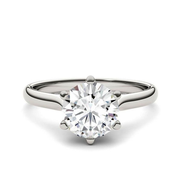 Moissanite Cathedral Solitaire Ring in 14K White Gold