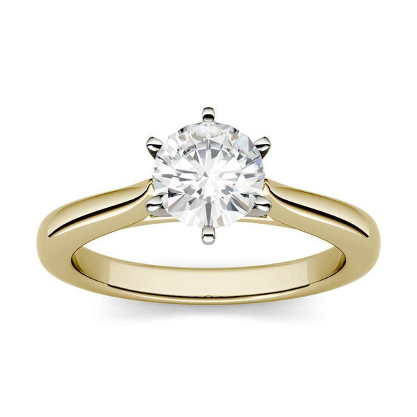 1.5ct Moissanite Cathedral Solitaire Ring in 14K Two-Toned Gold