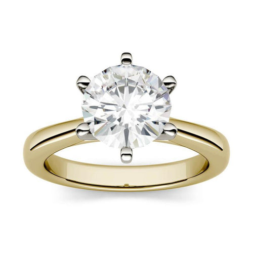 1.9ct Moissanite Cathedral Solitaire Ring in 14K Two-Toned Gold