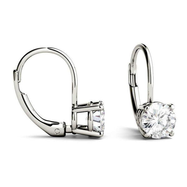 1ct Moissanite Solitaire Leverback Earring in 14K White Gold