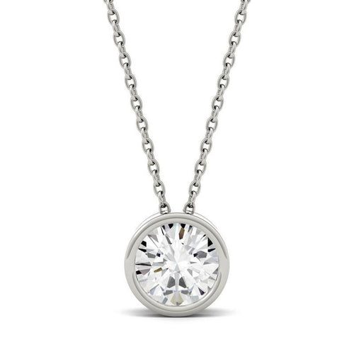 0.5ct Moissanite Solitaire Pendant Necklace in 14K White Gold