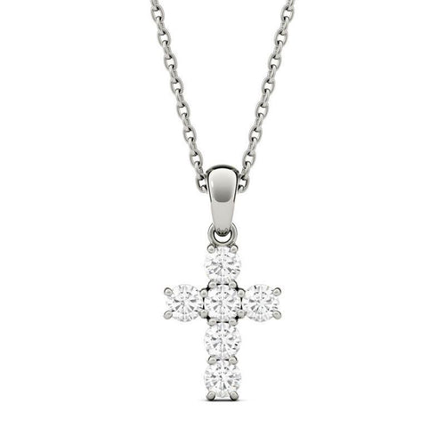 Moissanite Cross Pendant Necklace in 14K White Gold