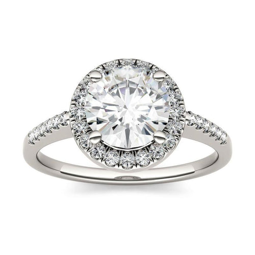 1.82ct Moissanite Halo Solitaire Ring in 14K White Gold