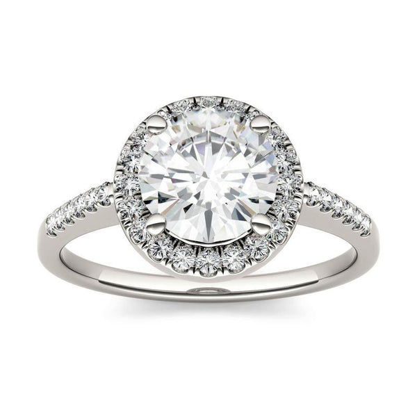 Moissanite Halo Solitaire Ring in 14K White Gold