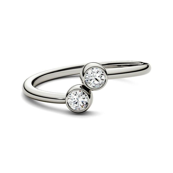 0.2ct Moissanite Two-Stone Fashion Ring in 14k White Gold