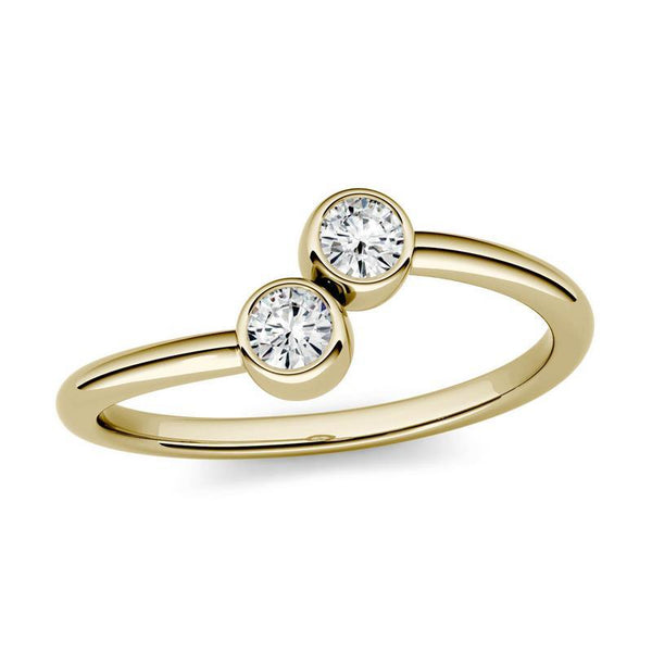 Two-Stone Moissanite Ring in 14k Yellow Gold