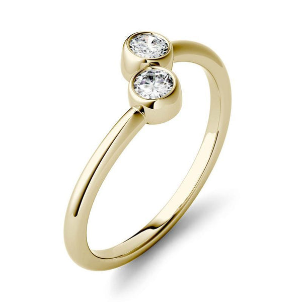 0.2ct Moissanite Two-Stone Fashion Ring in 14k Yellow Gold