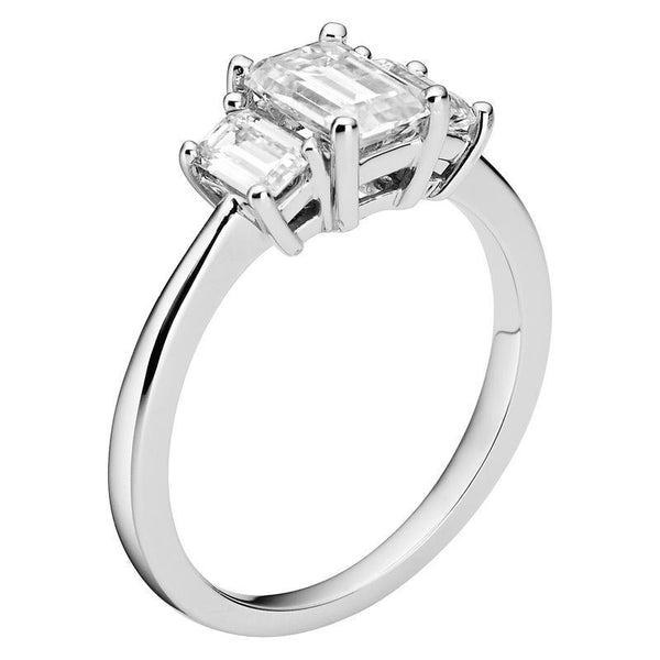 Moissanite Emerald Three Stone Ring in 14K White Gold