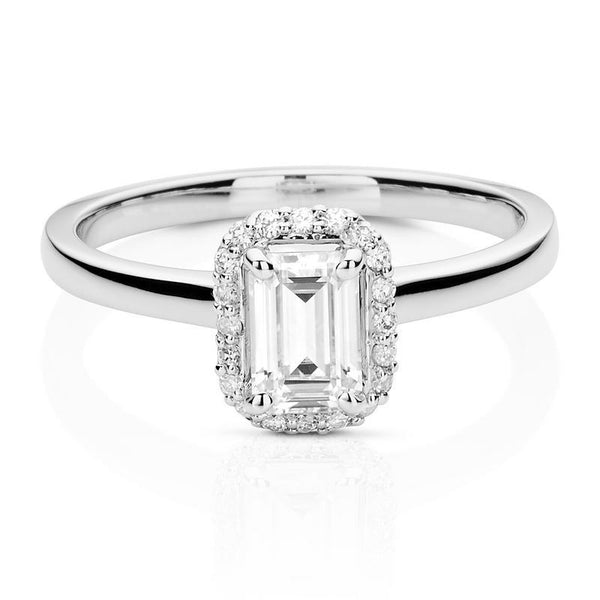 0.68ct Moissanite Emerald Halo Ring in 14K White Gold