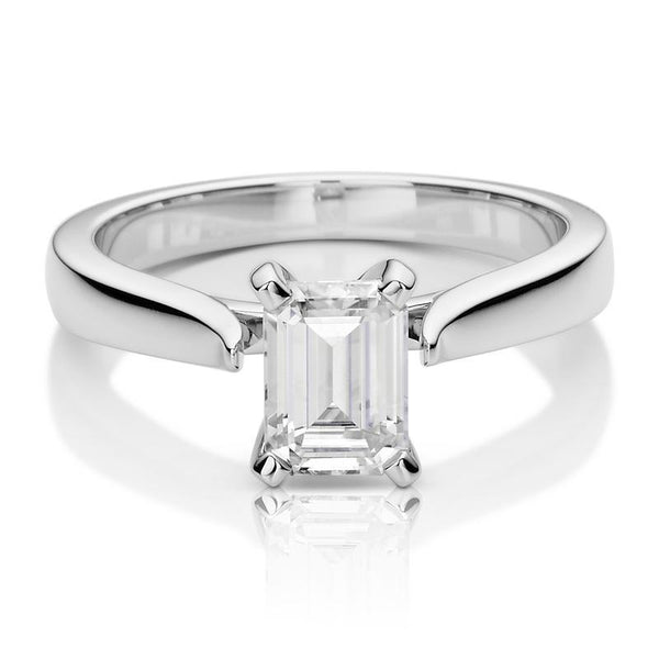 Moissanite Emerald Solitaire Ring in 14K White Gold