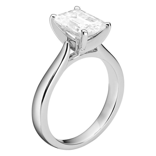 2.52ct Moissanite Emerald Solitaire Ring in 14K White Gold