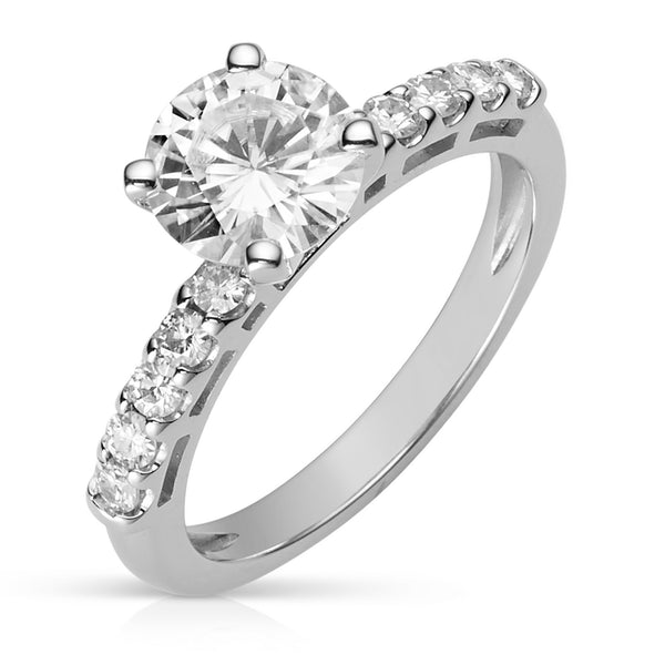 Moissanite Engagement Solitaire Ring in 14K White Gold