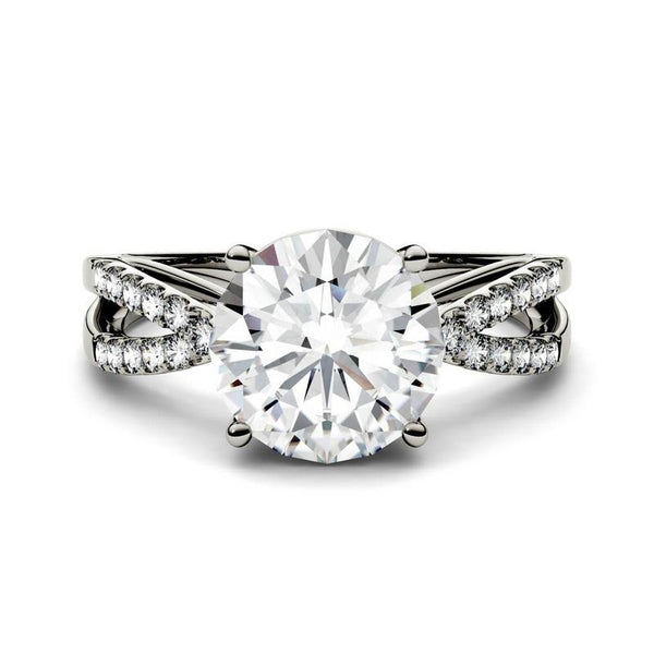 Moissanite Engagement Infinity Ring in 14K White Gold