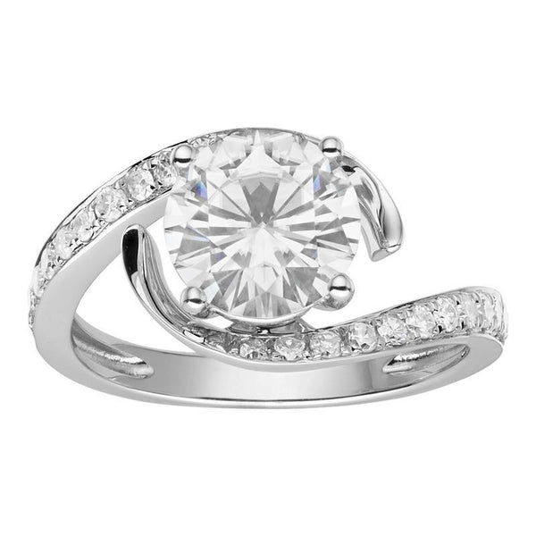 Moissanite Bypass Solitaire Ring in 14K White Gold