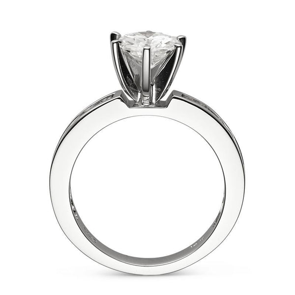 Moissanite Solitaire Ring in 14K White Gold