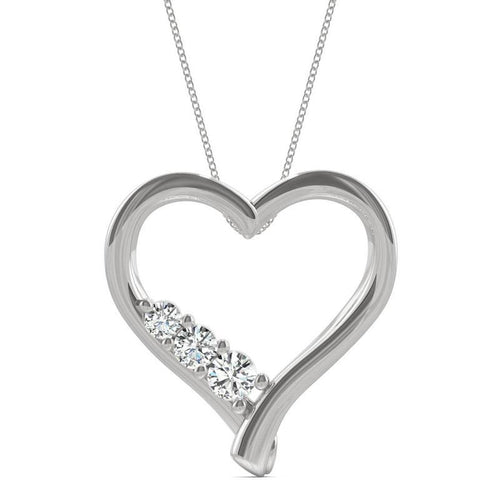 Moissanite Heart Pendant Necklace in Sterling Silver