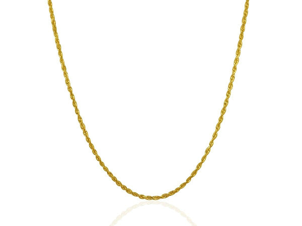 2.0 mm 10K Yellow Gold Solid Diamond Cut Rope Chain
