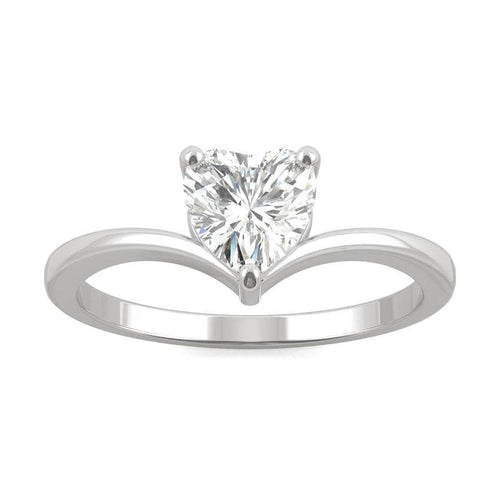 Moissanite Heart Solitaire Ring in 14k White Gold