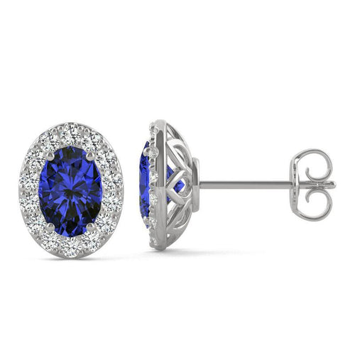 14k White Gold Moissanite Halo Studs with Lab Created Sapphire