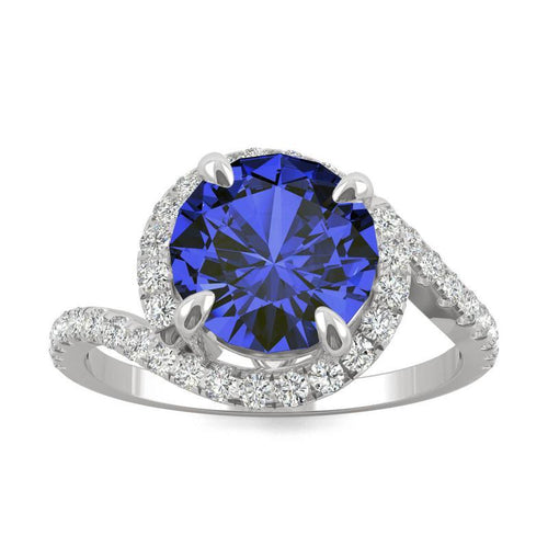 14k White Gold Moissanite by Charles & Colvard Round Halo Ring with Lab Created Sapphire