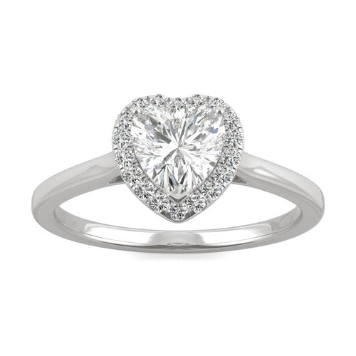 Moissanite Heart Halo Ring in 14k White Gold