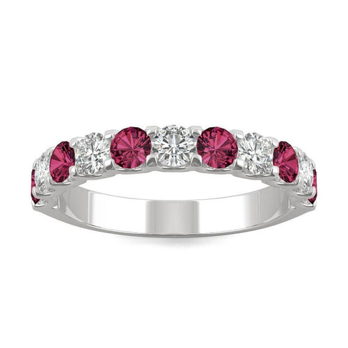 14k White Gold Moissanite Alternating Stone Band with Lab Created Ruby