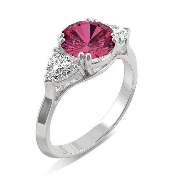 14k White Gold Moissanite Round Engagement Ring with Lab Created Ruby