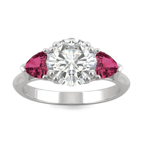 14k White Gold Moissanite Round Ring  with Lab Created Ruby