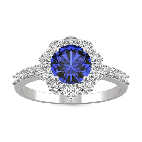 14k White Gold Moissanite Round Halo Ring with Lab Created Sapphire