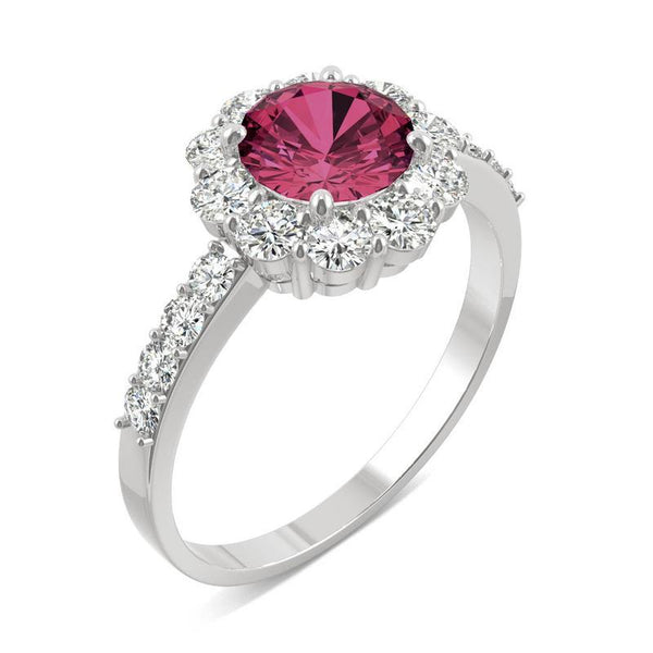 14k White Gold Moissanite Round Halo Ring with Lab Created Ruby