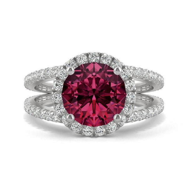 14k White Gold Moissanite Split Shank Halo Ring with Lab Created Ruby