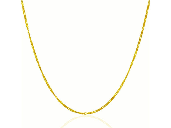 1.3 mm 14K Yellow Gold Solid Figaro Chain