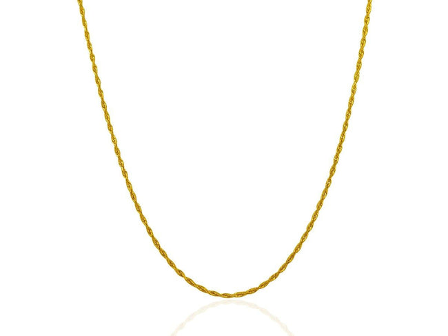 1.5 mm 10K Yellow Gold Solid Diamond Cut Rope Chain