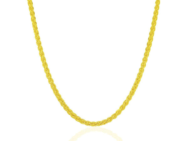 14K Yellow Gold Thick Light Weight Wheat Motif Chain