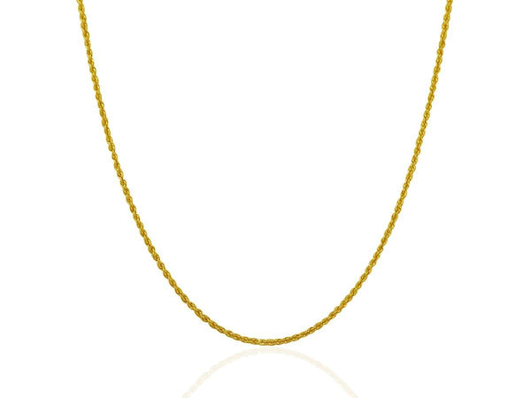 1.25 mm 14K Yellow Gold Solid Rope Chain