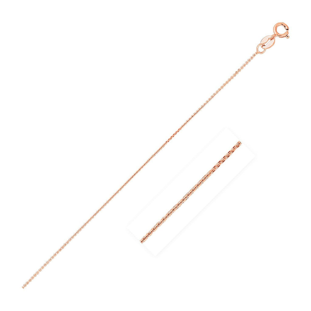 14k Pink Gold Cable Link Chain 0.8mm