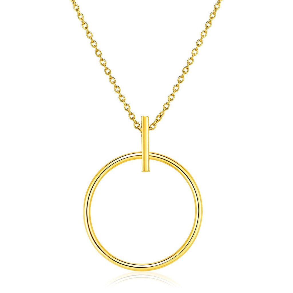 14k Yellow Gold 17 inch Necklace with Polished Ring Pendant